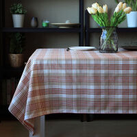 桌布布艺现代简约格纹餐桌布涤麻茶几布台布盖布定做