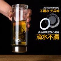 玻璃杯子双层耐热创意随手泡茶过滤透明带盖男女便携家用茶杯水杯jg7