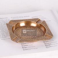 印度进口纯铜烟灰缸摆件美式黄铜高档奢华烟缸欧式家居装饰烟灰缸