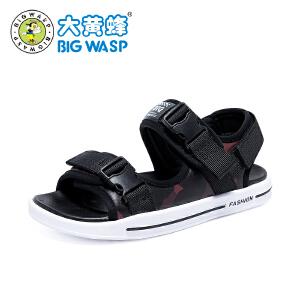 大黄蜂童鞋 2018新款男童凉鞋 夏季中大童学生韩版露趾休闲沙滩鞋