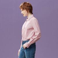 【1件4折到手价:54.4】美特斯邦威长袖衬衫女士日系原宿风上衣小清新打底衫秋装新款