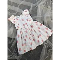 夏季新款白色草莓裙子纯棉飞袖连衣裙宝宝薄款凉爽透气蝴蝶结裙