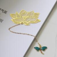 小荷蜻蜓书签黄铜金属叶脉花卉创意书签情人节礼品浪漫樱花玫瑰