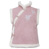 中国风童装汉服冬款唐装改良旗袍马甲少儿宝宝女童刺绣过年拜年服