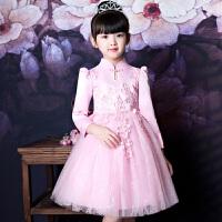女童连衣裙款春装儿童裙子中国风长袖公主裙中大童蓬蓬纱裙