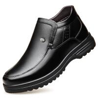 冬季男士棉鞋加绒高帮中老年保暖真皮老人鞋爸爸鞋