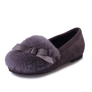 WARORWAR新品YM118-902四季欧美平底鞋舒适女士毛毛单鞋