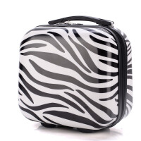 20180522000000610登机子母箱14寸手提箱12寸化妆包迷你拉杆箱小箱旅行箱包行李箱 斑马黑 镜面有膜