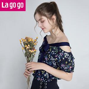 Lagogo2018夏季新款漏肩短袖雪纺衫灯笼袖系带上衣碎花甜美女装潮HASS104M16