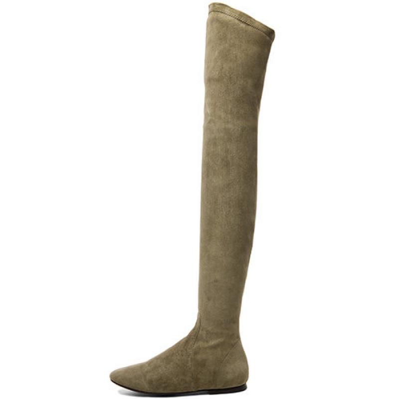 过膝靴2018秋冬长靴平底弹力长筒靴显瘦高筒网红靴子女瘦瘦靴