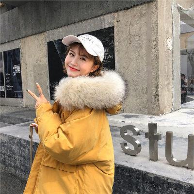 羽绒女中长款冬新款韩版宽松学生面包服ins加厚棉袄外套
