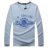2017秋新款韩版男士纯棉圆领长袖T恤 男式大码t恤 1990