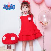 【促】小猪佩奇童装女童秋装2018秋冬新品红色毛呢背心连衣裙