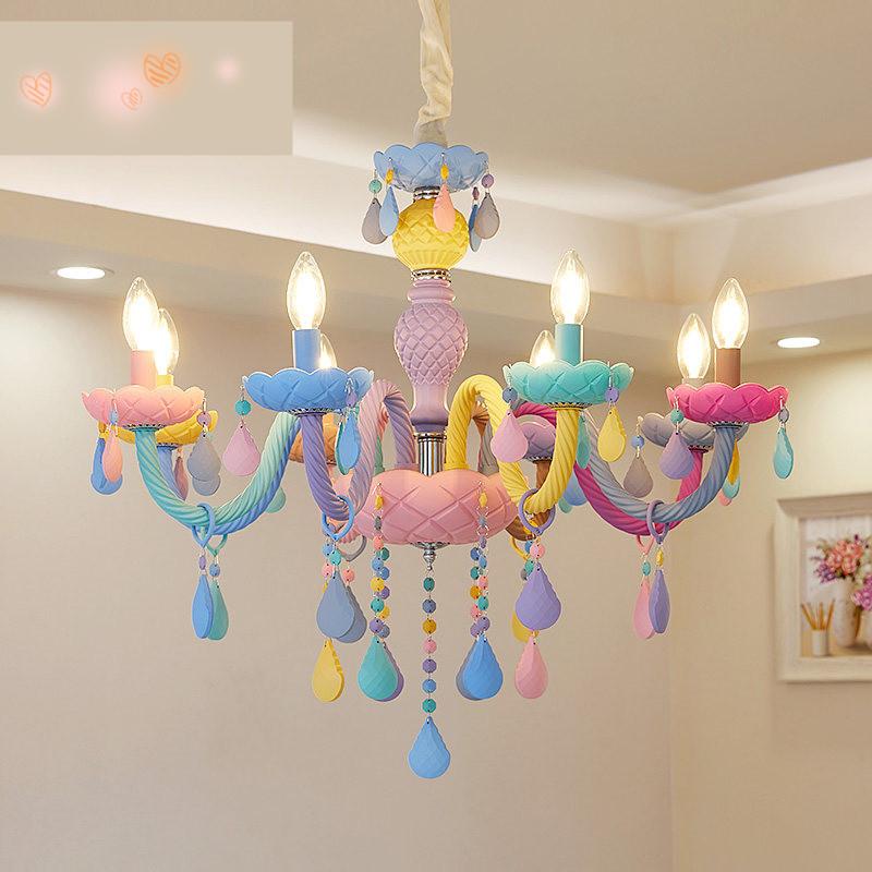 马卡龙配色水晶吊灯餐厅灯卧室灯儿童房美式女孩公主家装灯具灯饰4gn 个性 实用 百搭