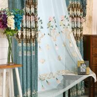 0724084342535成品布料蓝绿色卧室欧式窗帘客厅阳台大气雪尼尔绣花 定制专拍(要几米拍几份)