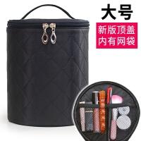 大号收纳包家用旅行护肤品包韩国简约防水化妆包大容量多功能桶包 黑色大号新版 直径17.5*高21cm