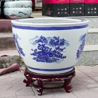 陶瓷鱼缸客厅水族箱养鱼金鱼乌龟荷花盆青花瓷大型水缸