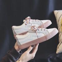 棉鞋女2018新款冬季百搭学生加绒帆布鞋韩版原宿ulzzang板鞋子潮 白色棉鞋 加绒