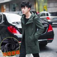男士韩版中长款修身连帽加绒保暖外套秋季风衣男潮流披风休闲夹克