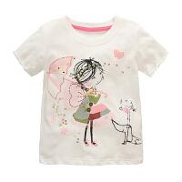 夏季宝宝纯棉短袖T恤女童装女宝半袖T恤婴儿儿童2018新款上衣背心 打伞女孩 90 0码数有肩扣