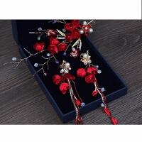 红色新娘头饰中式敬酒服结婚婚纱礼服头花耳环发饰品超仙