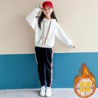 女大童装卫衣两件套2018秋季新款12小女孩13学生15岁休闲运动套装