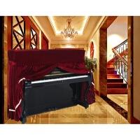 加厚丝绒钢琴罩三件套全罩全包布艺蕾丝滑罩琴凳罩钢琴套 红色 全罩