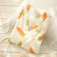 日系和服睡衣女春秋 棉纱布长袖汗蒸服甜美可爱浴衣 家居服套装