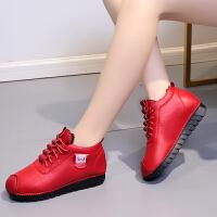 冬季新款妈妈棉鞋女保暖加绒平底中老年鞋皮鞋防滑二棉短靴孕妇鞋 红色 加绒