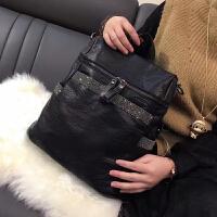 韩版镶钻多用女包时尚双肩包潮流妈咪背包软皮单肩包 镶钻黑色