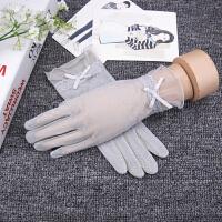 夏天女防晒五指手套小清新防滑开车手套薄款防紫外线 灰色 冰丝手套 均码
