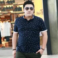 夏季大码男装有领T恤短袖翻领上衣中年男士宽松加大加肥佬polo衫 宝蓝T-20 2XL(体重160-190斤)
