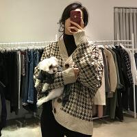 韩国chic女装加厚千鸟格V领单排扣宽松气质显瘦针织开衫毛衣外套