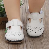 春夏新款镂空女婴儿鞋 0-1岁牛皮缝制软底防滑宝宝鞋学步鞋