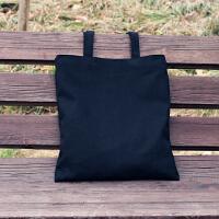简约小文艺清新学生书包购物袋帆布包女单肩手提日韩国 黑色 空白-黑包
