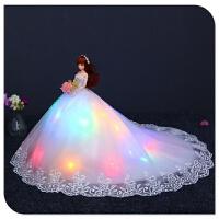 白芭比婚纱洋娃娃超大裙90厘米单个梦幻公主套装女孩生日礼物儿童 高50cm裙摆75cm(拖尾90cm)