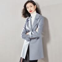 【清仓498元】梵希蔓双面羊绒大衣女中长款2018新款冬季修身毛呢外套