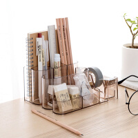 透明桌面文具收纳盒书桌置物架 办公室用品收纳架塑料分格整理盒