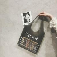 网红字母塑料透明购物袋女单肩手提沙滩包包PVC果冻包韩国夏新款