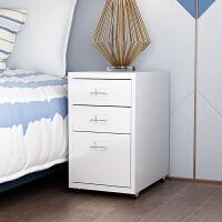 抽屉式收纳柜儿童桌下柜床头柜简约三抽柜小整理柜活动柜储物柜白 乳白色 3层