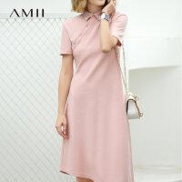 【到手价:149元】Amii极简时尚chic小个子连衣裙2019夏季新款不对称下摆短袖中长裙