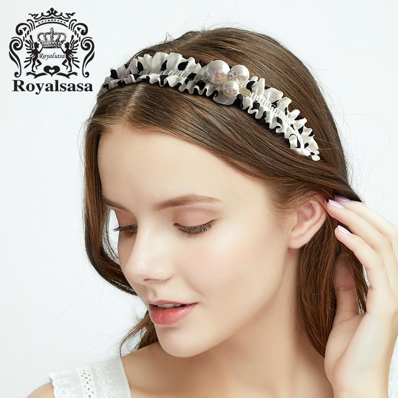 皇家莎莎发箍仿珍珠头饰甜美淑女发卡子布艺发带头箍简约发夹发饰