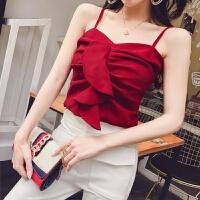 性感荷叶边抹胸打底背心2018新款韩版时尚气质女装一字肩吊带上衣 酒红色
