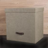 家居生活用品复古办公室居家收纳箱资料盒大号文件有盖衣柜书架大整理储物箱 34.5*26.5*34.