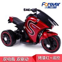 儿童电动摩托车 2-6岁男女孩可坐人带音乐充电遥控玩具三轮车