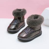 儿童雪地靴女童靴子秋冬2018新款冬季加绒保暖鞋女孩短靴宝宝冬靴