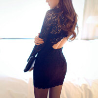 性感女紧身包臀露背蕾丝旗袍夜店OL职业秘书制服诱惑套装