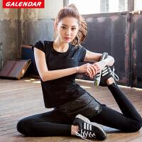 【满100减50/满200减100】Galendar运动T恤女士修身弹力速干透气瑜伽健身跑步运动上衣GA18017