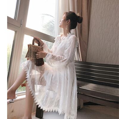 谜秀连衣裙女2018春装新款韩版蕾丝两件套超仙chic初恋裙子春夏潮