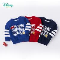 迪士尼Disney童装 男童毛衣秋冬新品纯棉针织衫宝宝加绒保暖长袖上衣183S1036